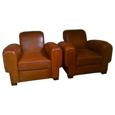 Very Large Pair of Antique French 1930 Club Chairs