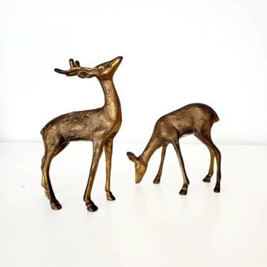 Vintage Andrea by Sadek Brass Deer Buck & Doe Set by pennyportland