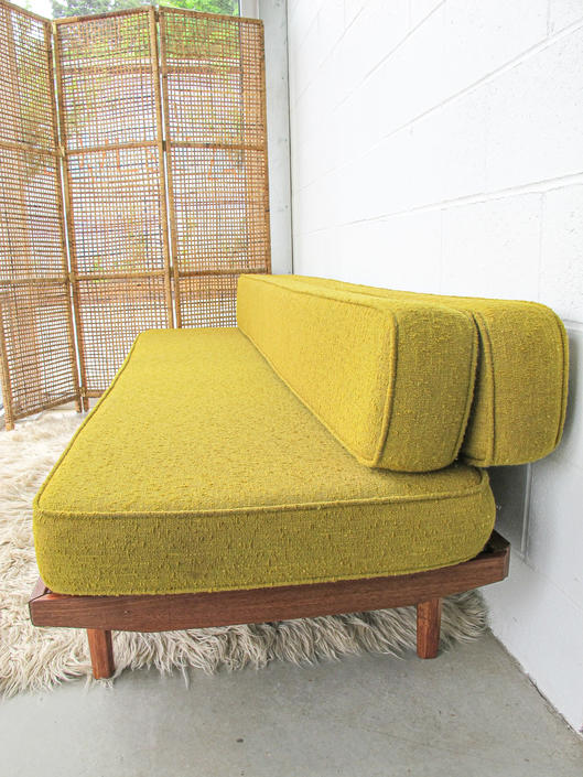 Vintage Midcentury Day Bed / Couch with Reversible Folding Mix-and-Match Chartreuse and Floral Cushions by PortlandRevibe