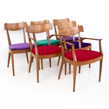 Kipp Stewart for Drexel Declaration Mid Century Walnut Dining Chairs - Set of 6 - mcm by ModernHill