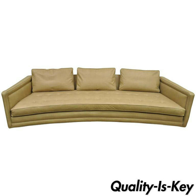 Harvey Probber Long Curved Button Tufted Beige Leather Mid Century Modern Sofa