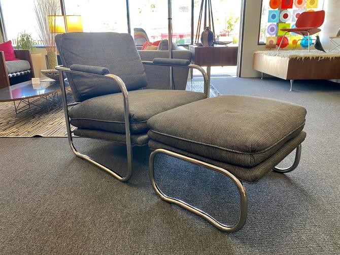 1970's Tubular Chrome Chair And Ottoman