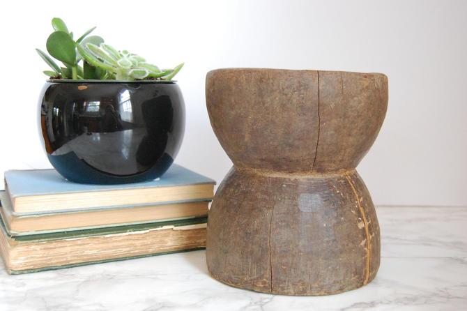 Antique Mortar Primitive Wood Mortar Bowl Kitchen Storage Country Decor by PursuingVintage1