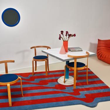 Salerno - Sangue Blu Wool Drip Striped Rug