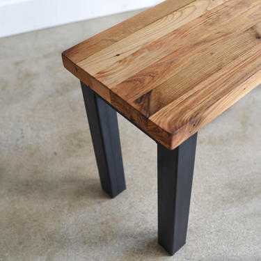 Butcher Block Entryway Bench / Industrial Steel Post Legs + Reclaimed Wood Dining Bench by wwmake