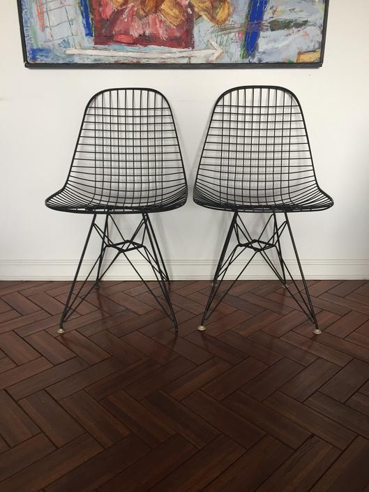 Eames Black Wire DKR Chair With Eiffel Base by Herman Miller - Set of 2 by ModandOzzie
