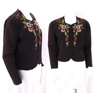 40s floral wool blouse m-l  / vintage 1940s crepe jacket / 40s womens yarn embroidered top by ritualvintage