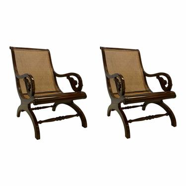 Ralph Lauren Transitional Caned Plantation Lounge Chairs - a Pair