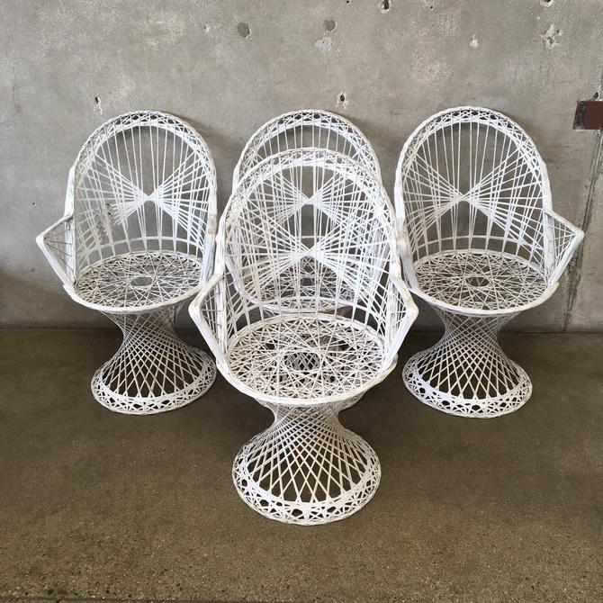 Set of Four Spun Fiberglass Chairs by Woodard