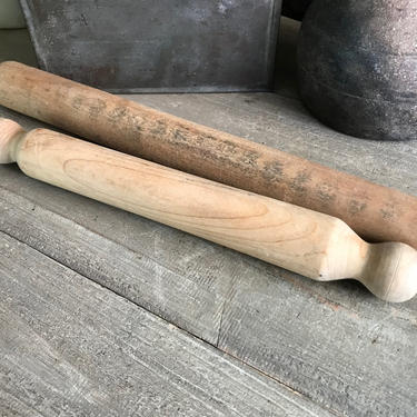 1 French Wood Rolling Pin, Large, Wood Pastry Tool, Rustic French Farmhouse Kitchen Cuisine by JansVintageStuff