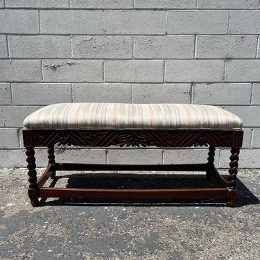 Antique Bench Carved Spindle Wood Traditional Style Stool Ottoman Footstool Footrest Hassock Seating Chair Primitive Retro Boho Bohemian by DejaVuDecors