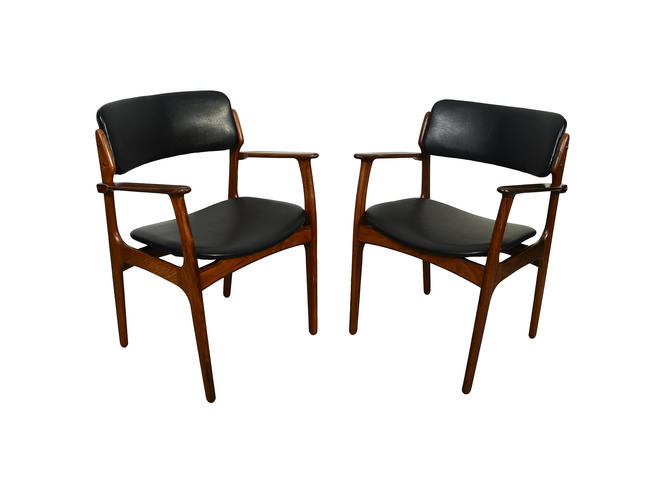 Rosewood Arm Chairs Erik Buck Danish Modern OD Mobler Dining Chair Black Leather by HearthsideHome