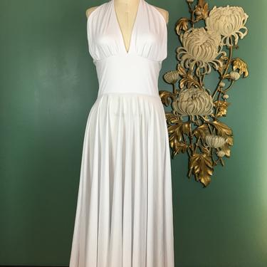 1990s dress, white halter dress, Marilyn Monroe, full skirt, halloween costume, seven year itch, medium, 1950s style, vintage, fit and flare by BlackLabelVintageWA