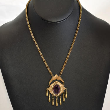 Unusual 1920's Gothic brass & paste affixed pendant, edgy Art Deco faux amethyst and pearls bling statement necklace by BetseysBeauties