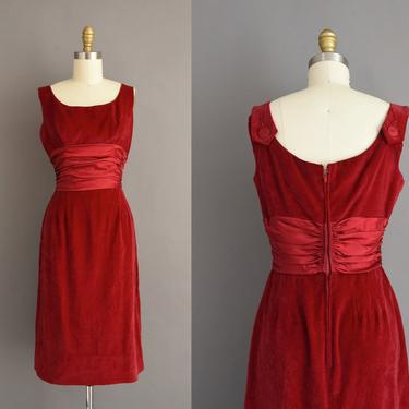 vintage 1950s dress | Cranberry Red Velvet Holiday Cocktail Party Dress | Small | 50s vintage dress by simplicityisbliss