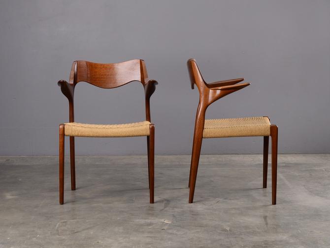 PAIR: Møller Model 55 Armchairs Dining Chairs Mid Century Danish Modern Teak 71 by MadsenModern