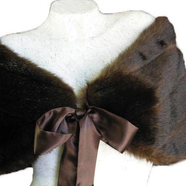 Brown Faux Mink Fur Bridal Wrap Shawl Capelet by VintageGaleria