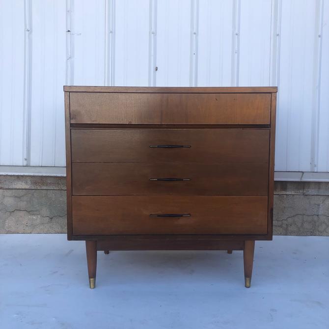 Mid century modern three drawer walnut dresser