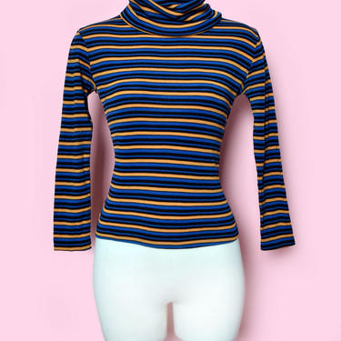 70's Stripe Fitted Knit Turtle Neck Sweater, 1970's Vintage Pullover Turtleneck Sweater, Shirt, Long Sleeve Hippie Boho Top, Disco Era by Boutique369