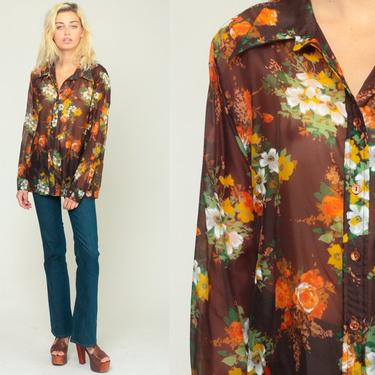 b6b2b374eb148d Added on July 10, 2018. Floral Blouse 70s Boho Top SHEER Shirt Brown Button  Up Shirt Bohemian Long Sleeve 1970s Vintage Boho Hippie ...