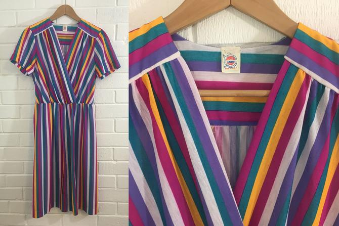 Vintage Rainbow Striped Dress 1970s Pink Purple Yellow 70s Short Sleeve Jewel Tones Elastic Waist Union Made Women's Medium Large 10 12 by CheckEngineVintage