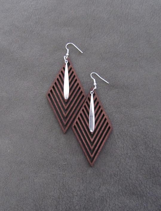 Large wood earrings, bold statement earrings, Afrocentric jewelry, African earrings, laser cut brown earrings, mid century modern earrings by Afrocasian