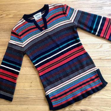 Lurex Sweater // vintage 70s knit boho hippie dress blouse top shirt striped 1970s rainbow metallic disco // S/M by FenixVintage