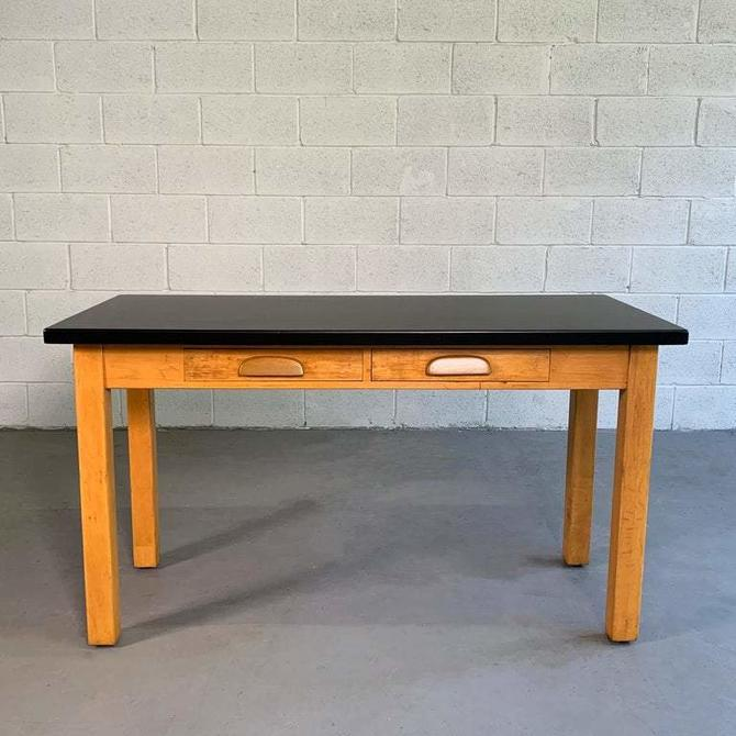 Industrial Midcentury Maple Laboratory Console Work Table