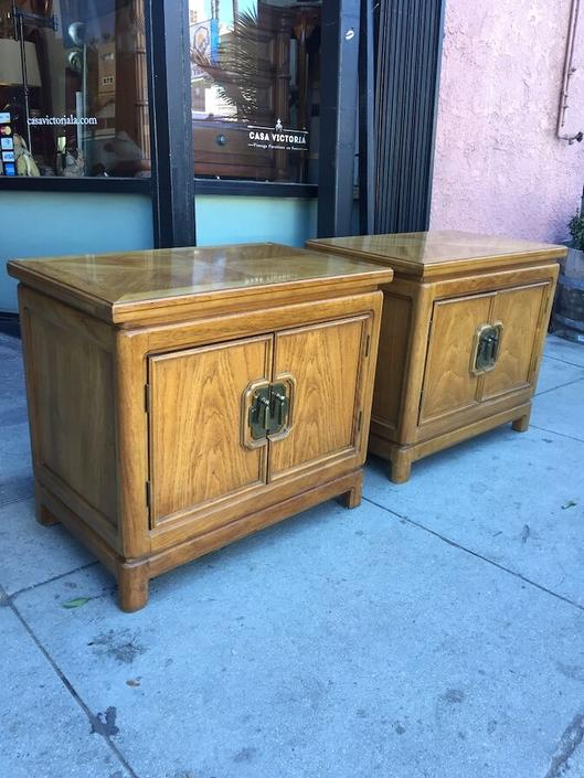 Home Is Where Your Bed Is | Pair of Vintage Asian-style Thomasville Night Stands