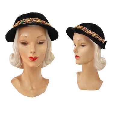 1950s Black Angora Cloche Hat with Gold Trim - 1950s Black Cloche Hat - 1950s Black Bonnet Hat - 1950s Holiday Hat - Vintage Black Hat by VeraciousVintageCo