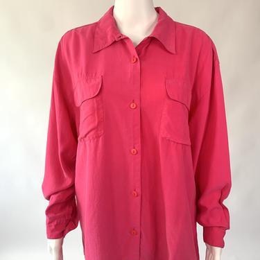 Pink Long Sleeve Button Down Silk Shirt
