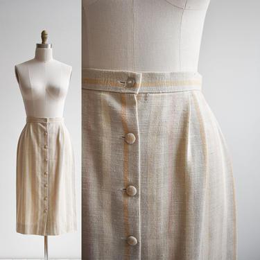 Vintage Linen Striped Midi Skirt by milkandice
