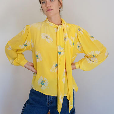 1970s sz 10 Yellow Silk Floral Print Pussy Bow Bishop Sleeve Blouse Tie Front Petal Print by backroomclothing