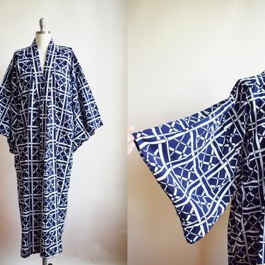 Vintage Hand-Sewn Cotton Yukata Robe   OS   1980s Indigo and White Cotton Japanese Robe   Kimono by wemcgee