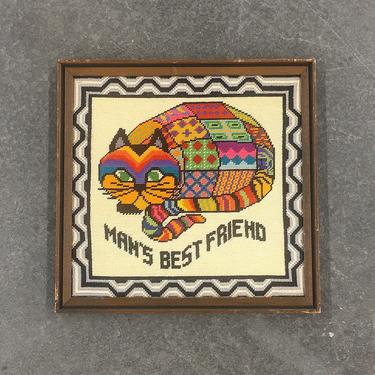 Vintage Needlepoint 1970s Retro Size 17x17 Bohemian + Cat + Mans Best Friend + Homemade + Multi Color and Print + Kitty + Wall Art + Decor by RetrospectVintage215