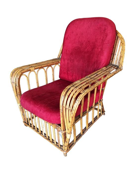 "Restored ""President's"" Art Deco Stick Rattan Lounge Chair by HarveysonBeverly"