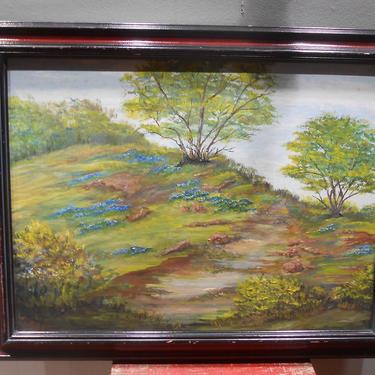 Vintage Texas Artist Landscape Scenery Oil Painting Hill Country Bluebonnet Artwork Original Art Central Texas Scene Signed Spring Flowers by kissmyattvintage