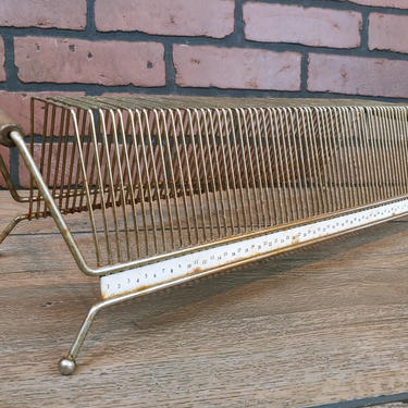 Mid Century MCM Brass Wire Record Holder with Wood Handles by RedsRustyRelics
