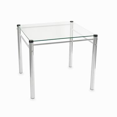 Mid Century Large Glass Top Metal Side Table by VintageInquisitor