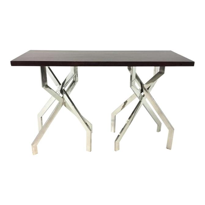 Modern Dark Wood and Chrome Abstract Double Pedestal Console Table