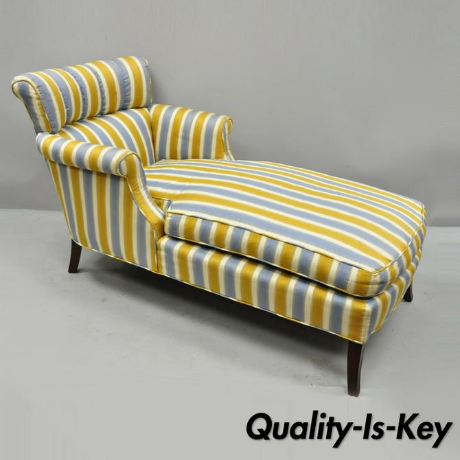 Vtg French Hollywood Regency Blue Gold Striped Channel Back Chaise Lounge Chair