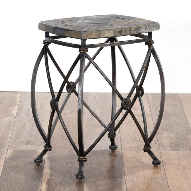 Contemporary Empire Style Stone Top End Table