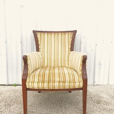 Vintage Accent Chair with Striped Upholstery