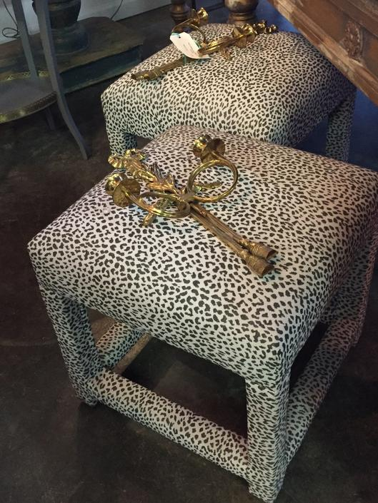 Pair of upholsterd Parsons stools w/ animal print fabric.