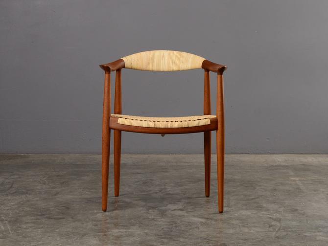 Early Hans Wegner Round Chair Teak and Cane Danish Modern by MadsenModern