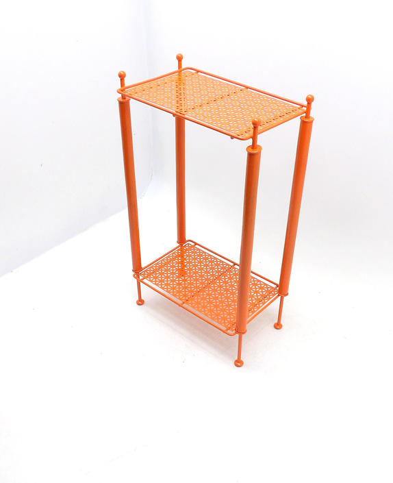 Phone Stand Mid Century Modern Pierced Magazine Rack Orange Telephone End Table Metal Vinyl Album Rack Living Room Movie Television Prop by MakingMidCenturyMod