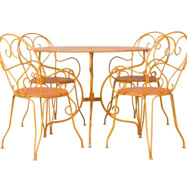 Antique French Orange Wrought Iron Patio Outdoor Dining Set by StandOutSpaces