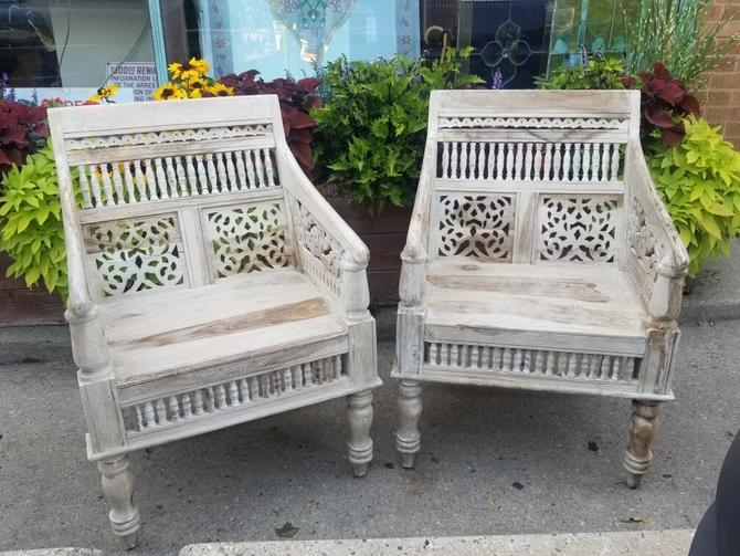 Gorgeous pair of Vintage Porter Maharaja Hand-carved Solid Sheesham Rajasthan Chairs imported from India