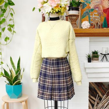 Vintage 1990s Pleated Plaid Mini Skirt - Express Blue Schoolgirl Skirt - L by SecondShiftVintage