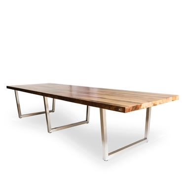"""Wood Conference Table in 1.5"""" thick White Oak reclaimed wood top and brushed stainless steel legs and oil finish.  Choose size. by UrbanWoodGoods"""